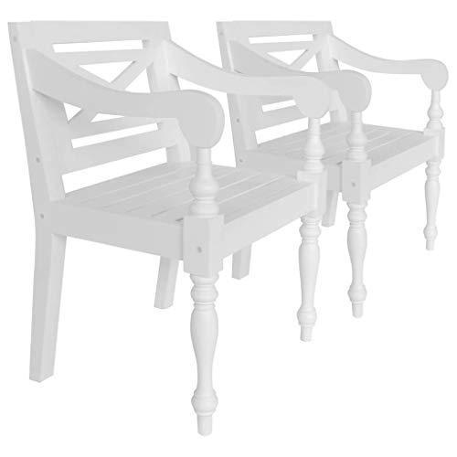 N/O Viel Spaß beim Einkaufen mit Batavia-Stühle 2 STK. Weiß Mahagoni Massivholz