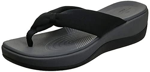 Clarks Women's Arla Glison Flip-Flop, Black Fabric, 10 Medium US