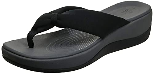 Clarks Women's Arla Glison Flip-Flop, Black Fabric, 9 Medium US