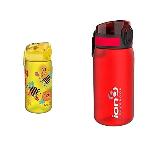 Ion8 Niños Botella Agua, Sin Fugas, Abejas, 400Ml + Leak Proof Bpa Free, Botella De Agua, Sin Bps, A Pueba De Fugas, Rojo (Frosted Scarlet Red), 350 Ml