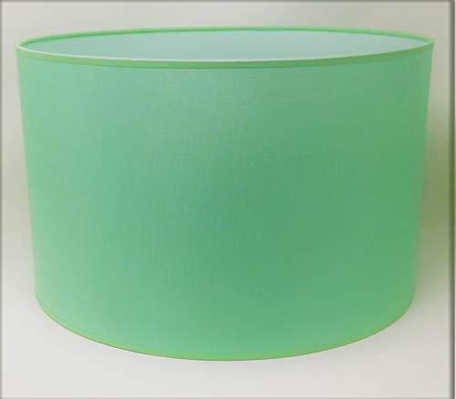 Zylinder Lampenschirm Baumwolle Stoff handgefertigt für Deckenleuchte, Tischleuchte, Stehlampe (Hellgrün, 45 cm Durchmesser 30 cm Höhe)