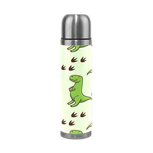 Ahomy Bouteille Isotherme à Double paroi en Acier Inoxydable Motif Dinosaures Vert 0,5 l