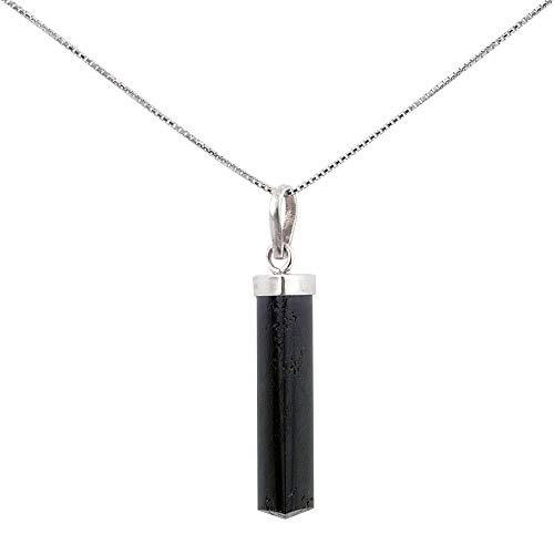 """ARITZI - Colgante en Plata de Ley 925 con forma de punta en Piedra natural - Incluye una Cadena\""""box chain\"""" de 45cm de plata - Turmalina"""