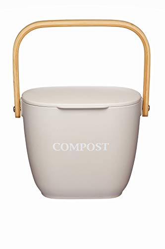 KitchenCraft Natural Elements Kitchen Compost Bin, Bamboo Fibre, Putty Grey, 3 Litre