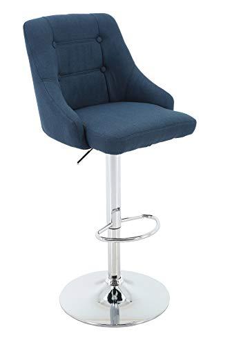 Brage Living Adjustable Height Bar Stool Tufted Fabric Upholstered Round Back Barstool with Footrest (Bleu)