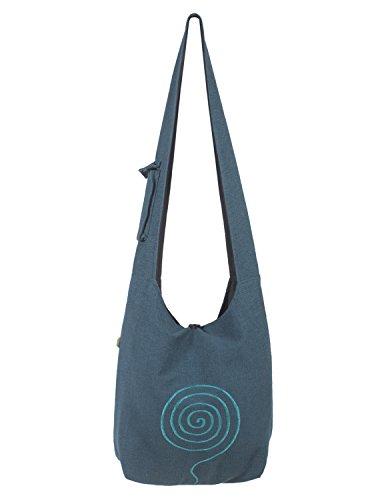 Vishes - Umhängetasche aus langlebiger, handgewebter Baumwolle mit aufgestickter Spirale - Unisex türkis