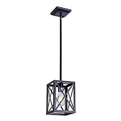 MELUCEE 8 Lights Industrial Rectangle Chandeliers for Dining Rooms, Black Farmhouse Cross Framed Box Pendant Lighting for Kitchen Island Restaurant Pool Table