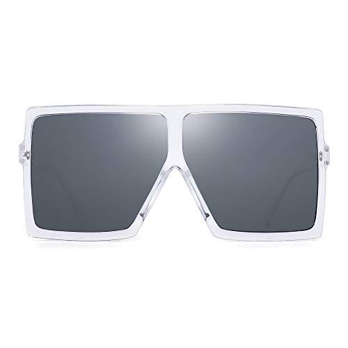 JM Oversized Cuadradas Gafas de Sol Para Mujer Plano Top Diseñador Sombras Protección UV(Marco Claro/Lente Gris)