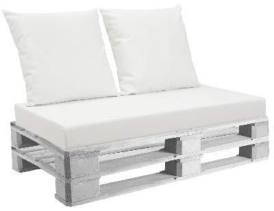 EXTROITALY Belem Eco Bianco Set Cuscini 120x60 + schienali 60x60 pz.02 per Esterno/Interno arredo Pallet da Giardino Divanetto con bancale Cuscini Interno Poliuretano Tessuto Lavabile Sfoderabile