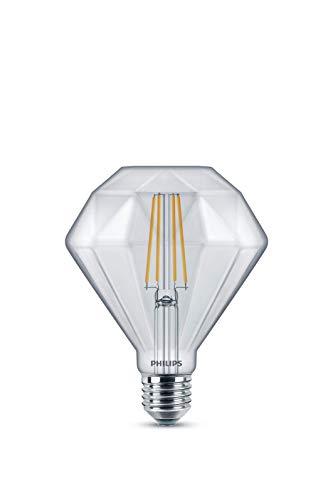 Philips bombilla LED con forma de diamante de filamento efecto vintage, casquillo gordo E27, 5 W equivalentes a 40W en incandescencia, luz blanca cálida regulable