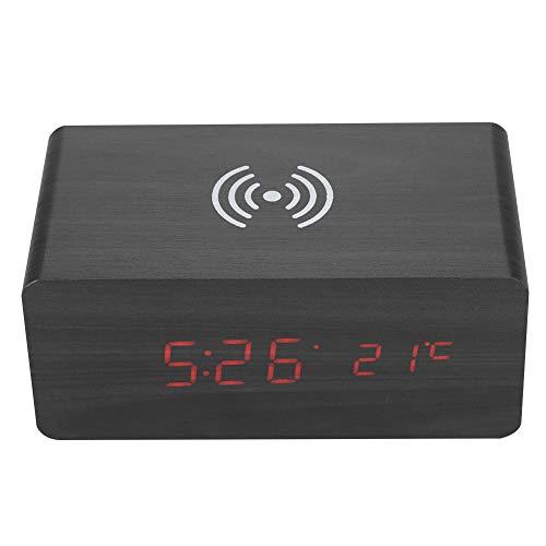Mugast Digitale wekker, bluetooth-luidspreker, draadloos, geluidsbesturing, alarm, klok met bluetooth-luidsprekersysteem, draagbaar Qi draadloos opladen 12/24H led-spiegel, horloge, luidspreker wekker, Zwart hout + rood licht