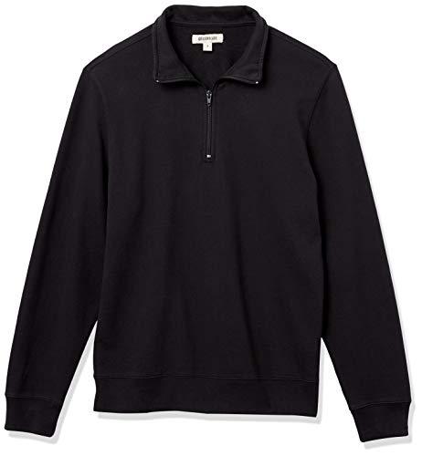 Amazon Brand - Goodthreads Men's Lightweight French Terry Half-Zip Pullover Sweatshirt, Black, X-Large
