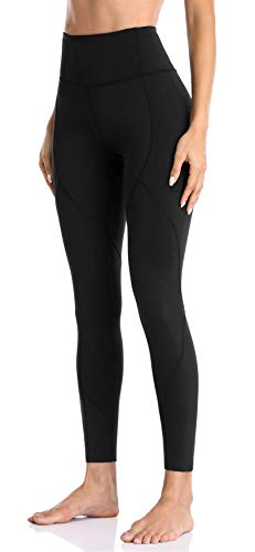 Anwell Stretch-Hose Damen Leggings Capri High Waist Strumpfhosen Traininghose Yoga Hose Sporthose Schwarz M