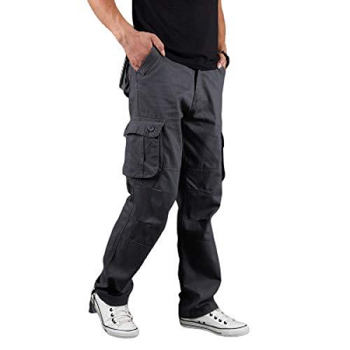 Hombre Monos de Color Liso Pantalones Casuales Perneras Rectas Al Aire Libre Multibolsillos Cómodos Pantalones Cargo Resistentes al Desgaste 30
