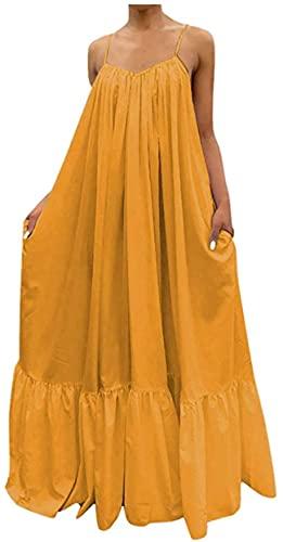 DFLYHLH Vestido largo con correa de color sólido para mujer, sexy, casual, con bolsillo, sin espalda, grande, estilo bohemio, estilo bohemio, Amarillo 01, L
