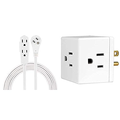 Cable de extensión de oficina interior, cable de alimentación extra largo de 8 pies, 3 tomas a tierra, 3 puntas, grifo blanco y pared, 1, extra…