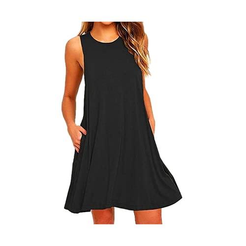 Vestido casual de verano para mujer, para playa, con bolsillos, Negro, 36