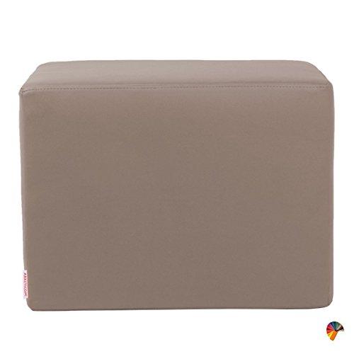 Arketicom Dado Pouf Design Cube Repose Pied Tabouret Cuir Dehoussable Taupe 55x42
