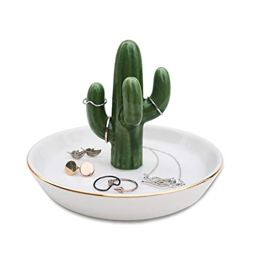 mono living Cactus Ring Holder for Jewelry Boho Decor Room Decor for Teen Girls Ring Tray Jewelry Dish Best Friend Birthday Gifts Trinket Dish Bedroom Accessories Tree Jewelry Holder Ring Organizer Je...