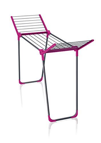Leifheit Standtrockner Pegasus 120 Solid Compact Pink in limitierter Auflage, kleiner standfester Flügelwäscheständer für lange Kleidungsstücke, passt auch durch enge Türen, für Single Haushalte