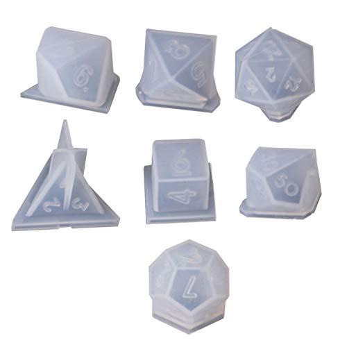 Qiulip 7 Vormen Dobbelsteen Digitaal Spel Siliconen Mould Dobbelsteen Vierkante Driehoek Dobbelvorm