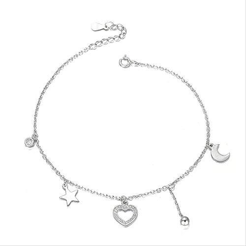 ZHIFUBA Co.,Ltd Collar Moda Drip Stream Su Estrella Luna Collar Forma Cien Corazón Pulsera Pulsera Atada Regalo