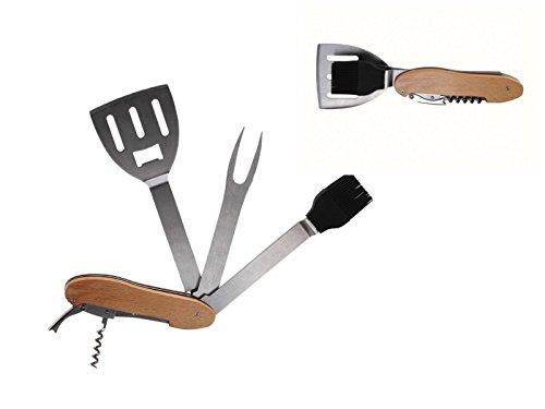 Grillbesteck Set als Taschenmesser Klappbar Grillzubehör (Grillgabel, Grillzange, Grillwender, Grillset, Barbecue Besteck, Campingmesser)