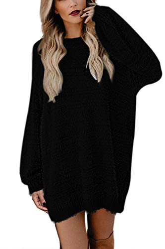 Meenew Women Long Sleeve Crewneck Baggy Knit Jumper Sweater Dress Black XL
