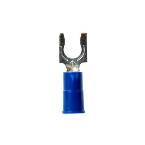 3M Scotchlok Vinyl Insulated Brazed Seam #10 Size Fork Terminal 16-14 Gauge (Blue) - 100 Pieces