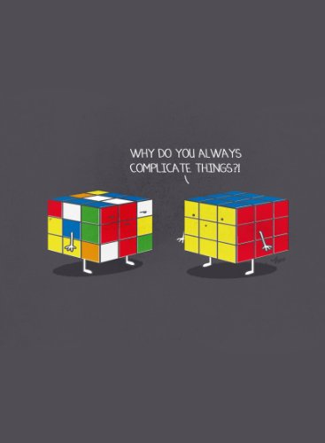 Rectangle Refrigerator Magnet - Two Rubik's Cubes Why Do You Always Complicate Things?! Funny Cartoon