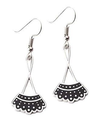 Women's RBG Dissent Collar Earrings Dangle Drop Charms Jewelry (Silver)