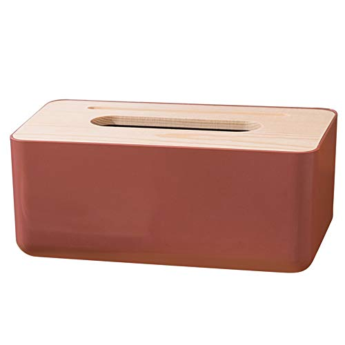 blue XM-ZHHY Rectangular Facial Tissue Box Cover Holder with Wooden Cover for Home Office Bathroom