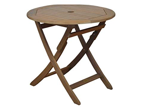 Proloisirs Table Ronde Pliante Look Teck 80 cm