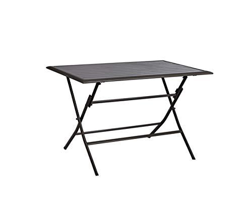 PEGANE Table de Jardin Pliante en Aluminium/Acier, Coloris Anthracite - 110 x 70 x 75 cm