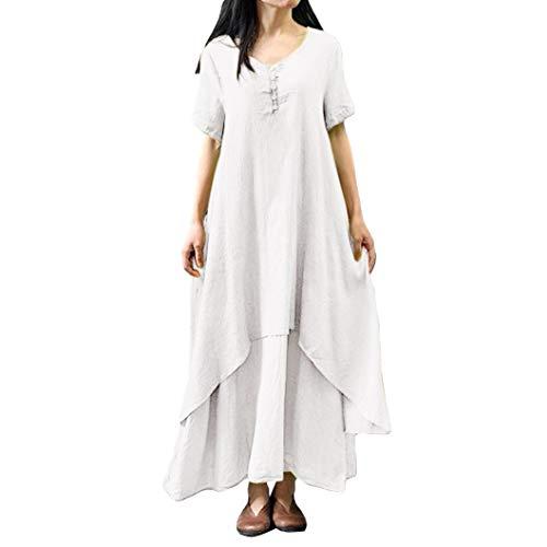 ESAILQ Damen Tägliches Plus Size Splice Lace langes Kleid(XXXL,Weiß)