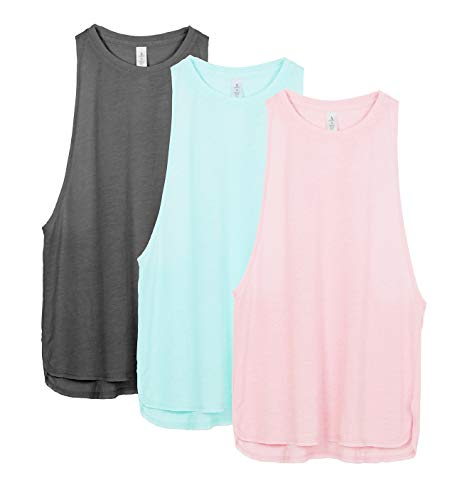 icyzone Workout Tank Tops for Women - Running Muscle Tank Sport Exercise Gym Yoga Tops Athletic Shirts(Pack of 3) (M, Charcoal/Pearl Blush/Aqua)
