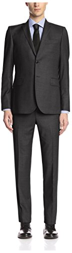 Balmain Pierre Men's Solid 2 Button Slim Fit Suit, Grey, 52R EU