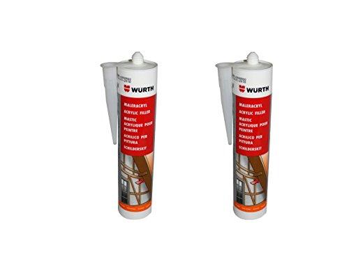 Würth | 2 Stück | Maler-Acryl | weiss 310 ml Kartusche | Fensterverglasung, Abdichtung, Dehnfugen, Acrylfugen in Bad, Dusche, Sanitär, aussen | hitzbeständig, hochtemperatur | Dichtmasse