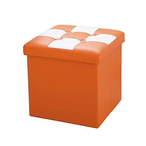 ZTCWS Folding Storage Ottoman Bench Cube 15 Inch Leather Storage Chest with Memory Foam Seat Footrest Padded Upholstered Stool Tufted for Bedroom Living Room,Orange