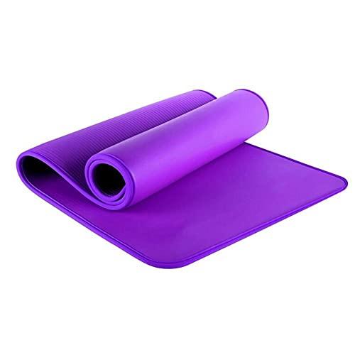 HUUATION 10mm Mat de Yoga 183x61cm NBR Fitness Gym Sports Pilates Pads Alfombra Alfombra Cubierta de lágrima Resistente a la lágrima Matt con Bolsa y Correa(Purple)