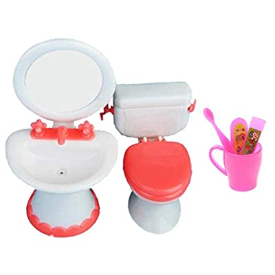 SHANGUP Plastic Dollhouse Mini Furniture Bathroom Toilet Sink Toothbrush Set fit for Girl and Boy Party Gift Toys Accessories Color Random
