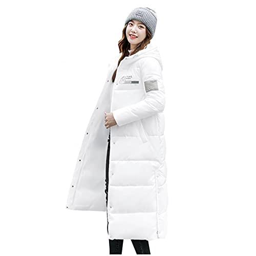 CCOOfhhc Giacca invernale lunga da donna con cappuccio, taglia grande, invernale, leggera, parka per le mezze stagioni con tasche, giacca invernale calda, antivento, con cappuccio, bianco, M