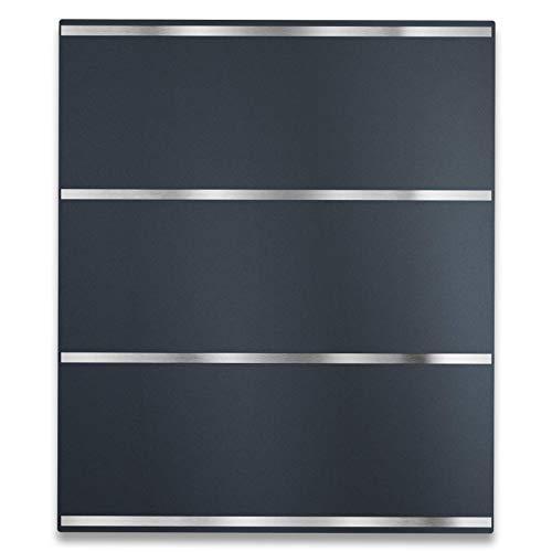 Metzler Design Briefkasten in Anthrazit RAL 7016 - Rostfrei & Massiv - Modernes Design - Wandbriefkasten inkl. Zeitungsfach - Türanschlag wählbar, Größe: 35,5 x 43,5 x 10 cm