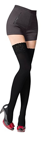 NEW Lace Top 80 Denier Sheer Hold-Ups Stockings 9 Various Colours- Sizes S-XL (Large, Black)