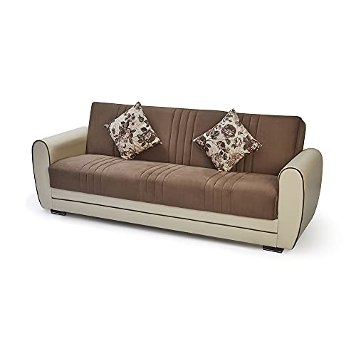 7star Pelin Sofa bed in Black/grey or brown/cream 3 seater and 2 seater fabric Sofabed with storage & 2 free cushions. (Brown-cream, 3 Seater)