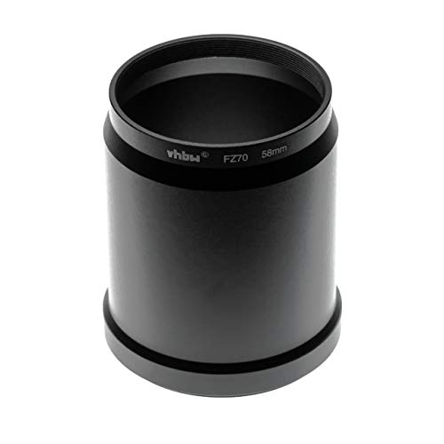 vhbw Adaptador de Filtro Compatible con Panasonic Lumix DC-FZ80, DC-FZ82, DC-FZ83 cámara, cámara Digital Objetivos - Negro 58mm en Forma de Tubo