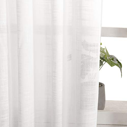 VISIONTEX White Sheer Curtains Weave Faux Linen Look, Rod Pocket Rustic Window Curtains for Living Room, 54 Inch Width x 63 Inch Length, Set of 2 Panels
