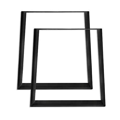 Froadp 2 Piezas Trapezoidal Pies de Banco Diseno industrial Marco Pies para muebles Patas de muebles Base para Mesa de Comedor Escritorio Mesa de Centro Banco DIY(Negro, 45x71cm)