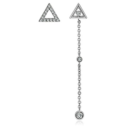 KnSam Womens Dangle Earrings, Platinum Plated Comfort Fit Triangle Cubic Zirconia Silver
