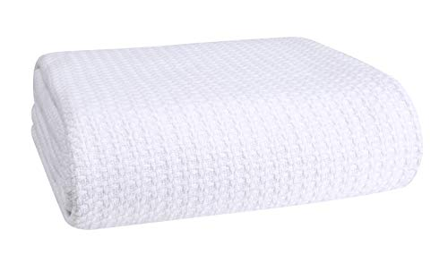 Elvana Home 100% Cotton Bed Blanket, Breathable Bed Blanket Full - Queen Size, Cotton Thermal Blankets Full - Queen, Perfect for Layering Any Bed for All Season, White
